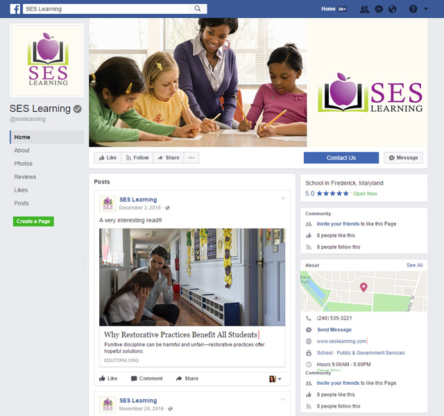 SES Learning Facebook Page